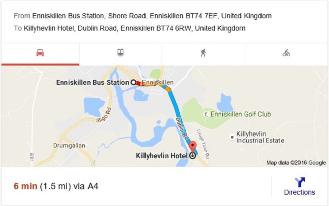Enniskillen Bus Depot to Killyhevlin Hotel !!