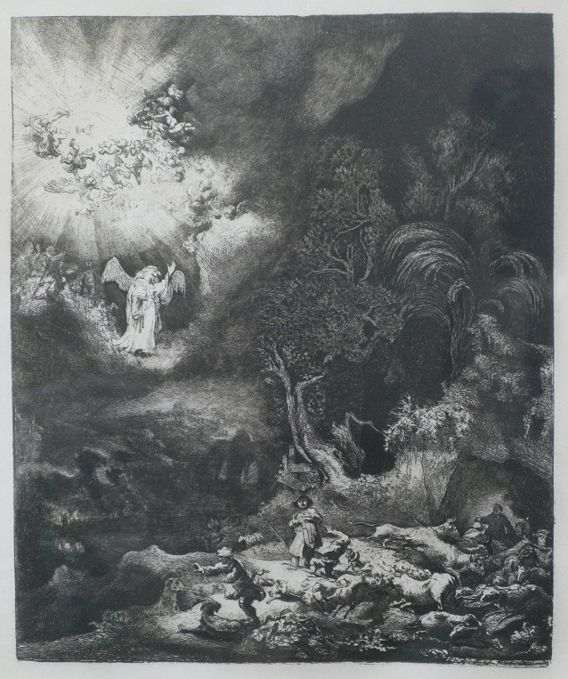 Rembrandt's Angel Appearing to the Shepherds !!