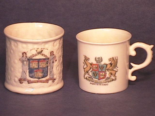 Pair of Miniature Crested Belleek Mugs !!