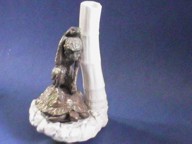 Royal Worcester Turtle, Monkey and Frog with Bamboo !!